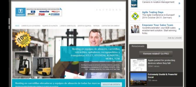 Nueva presentación en PDF de UNIRENT, servicios de alquiler y renting de carretillas elevadoras y equipos de almacén