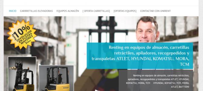 UNIRENT. Inaguración web de servicios de alquiler y renting de carretillas elevadoras y equipos de almacén