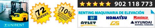 Alquiler y renting de carretillas, apiladores, retráctiles, transpaletas